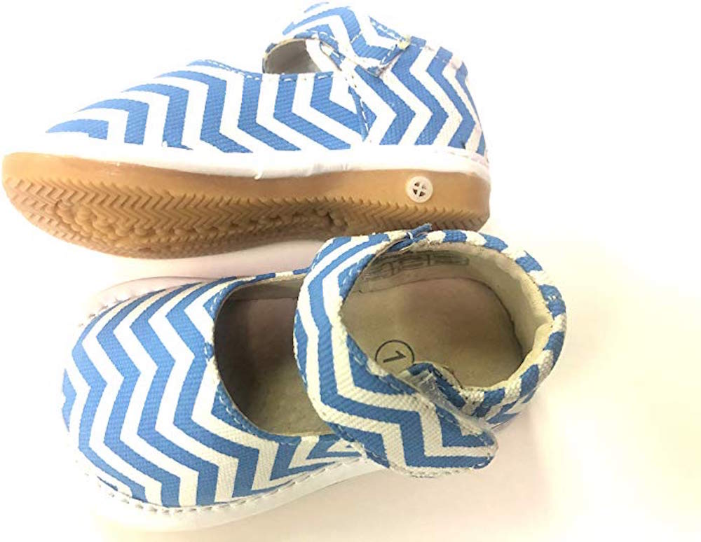 CLOSEOUT SALE! Leather Toddler Girl's Blue and White Chevron Canvas Squeaky Shoes