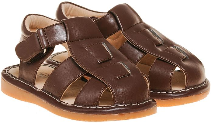 Leather Toddler Boy's Closed Toe Brown Fisherman Squeaky Shoe Sandal