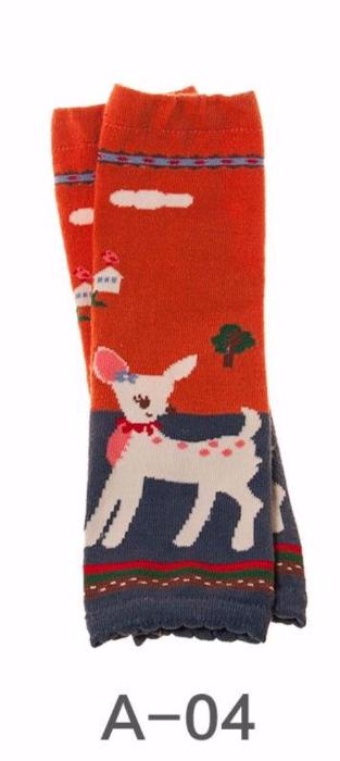 A-04 Toddler Girl's Orange with Grey Deer Leg Warmers