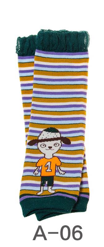 A-06 Toddler Girl's Dog with Stripes Leg Warmers