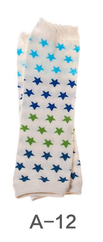 A-12 Toddler Girl's Creamed Colored with Blue and Green Stars Leg Warmers