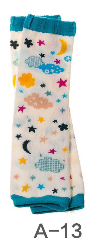 A-13 Toddler Girl's White with Moons and  Stars Leg Warmers