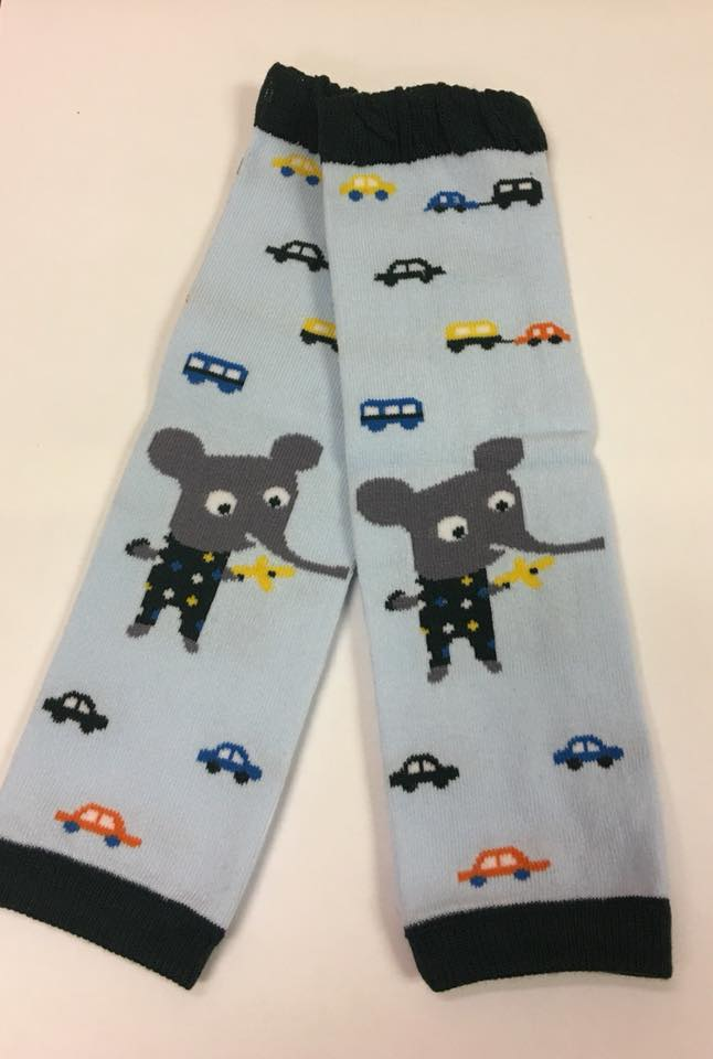 A-15 Toddler Blue Leg Warmers with Elephant and Cars
