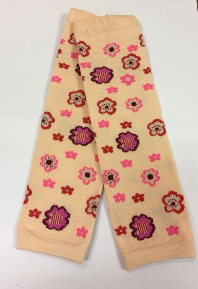 A-17 Toddler Girl's Peach Leg Warmers with Pink and Red Flowers