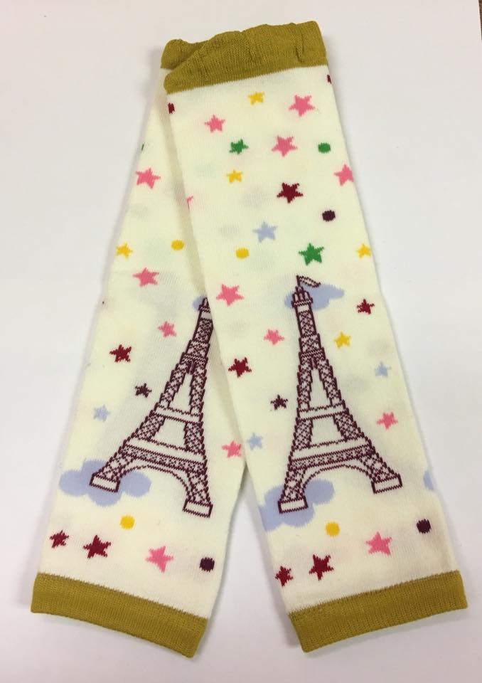 A-23 Cream and Brown Eiffel Tower Leg Warmers
