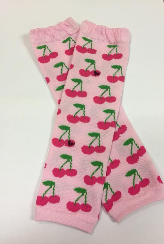 A-27 Pink Cherries Leg Warmers