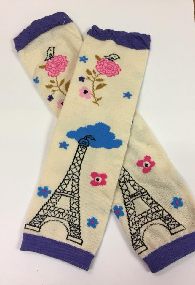 A-29 Blue and Cream Eiffel Tower Leg Warmers