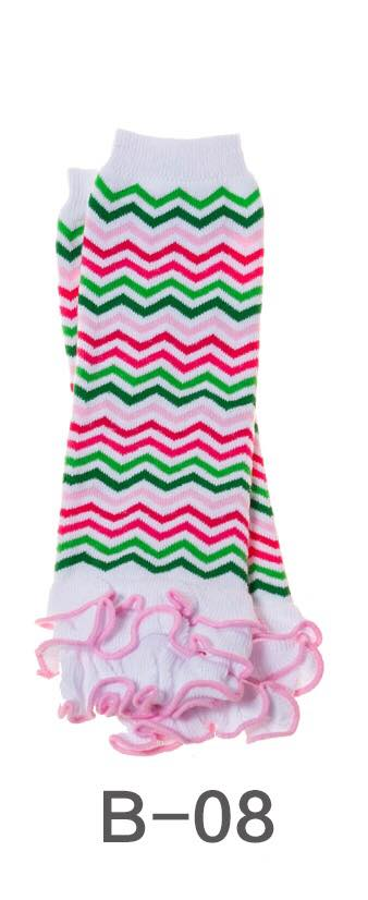 B-08 Toddler Girl's White/Pink/Green Chevron Leg Warmers