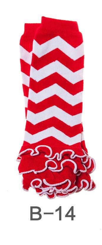 B-14 Toddler Girl's Red and White Chevron Leg Warmers