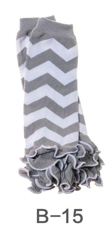 B-15 Toddler Girl's Grey and White Chevron Leg Warmers