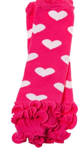 B-16 Toddler Girl's Pink with White Hearts Leg Warmers