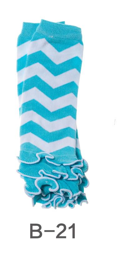 B-21 Toddler Girl's Turquoise and White Chevron Leg Warmers