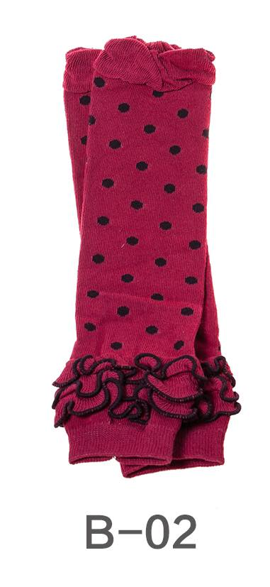 B-02 Toddler Girl's Maroon with Black Dots Leg Warmers