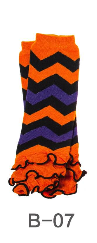 B-07 Toddler Girl's Orange/Black/Purple Chevron Leg Warmers