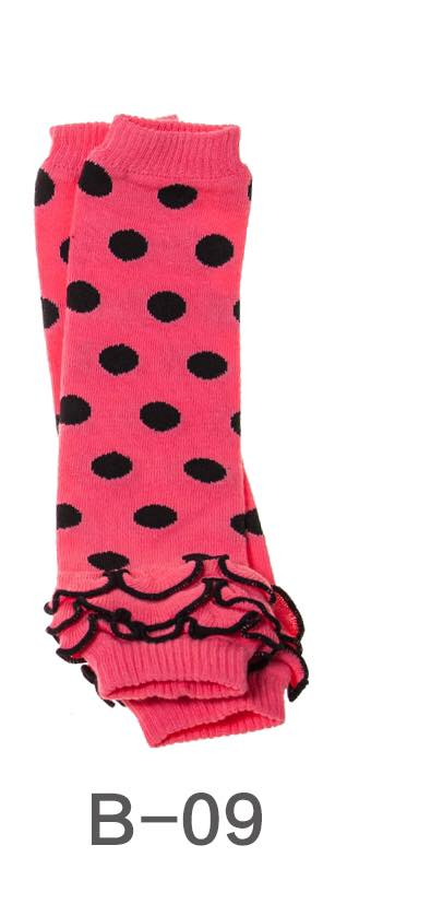 B-09 Toddler Girl's Pink with Black Dots Leg Warmers