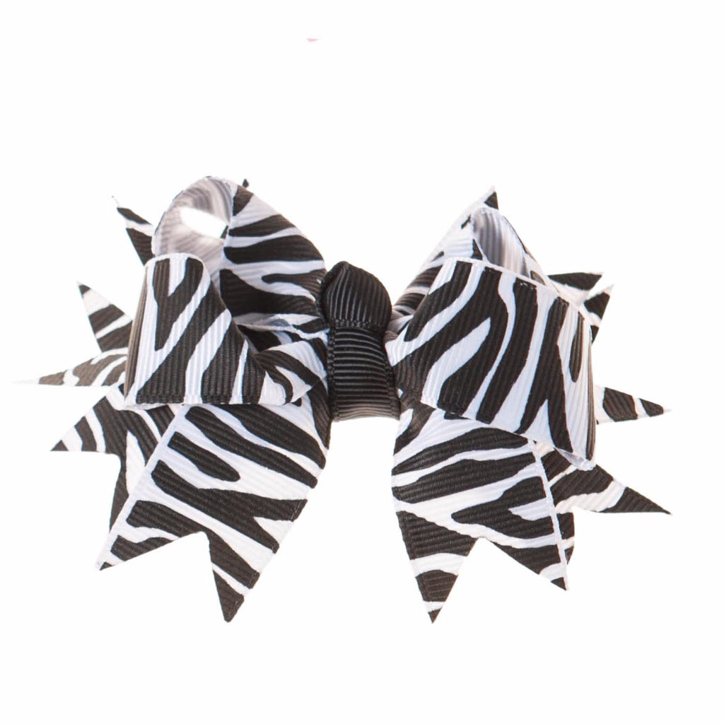 Black and White Zebra Print Clip on Hair/Shoe Bow (Sold Individually)