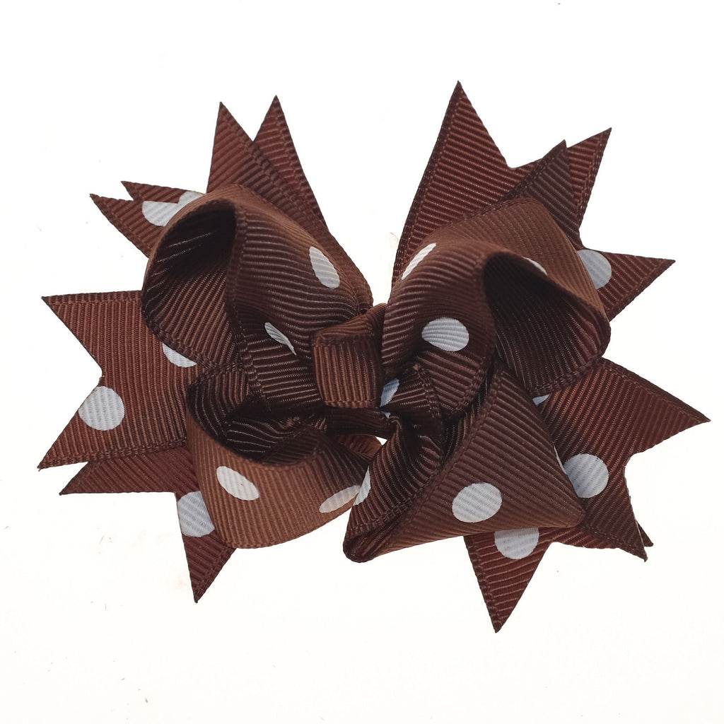 Brown and White Polka Dot Clip on Hair/Shoe Bow (Sold Individually)