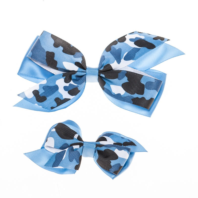 Blue Camo  Clip on Hair/Shoe Bow, Great for Our Clip on Squeaky Shoes (Sold Individually)
