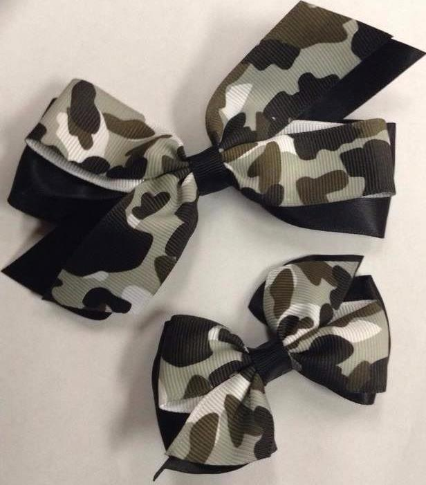 Charcoal Camo  Clip on Hair/Shoe Bow, Great for Our Clip on Squeaky Shoes (Sold Individually)