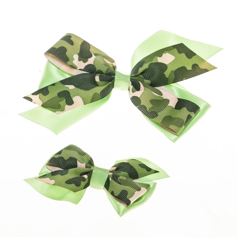 Green  Camo  Clip on Hair/Shoe Bow, Great for Our Clip on Squeaky Shoes (Sold Individually)