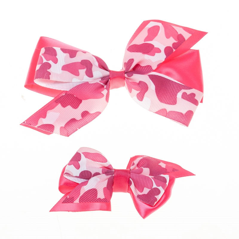 Hot Pink  Camo  Clip on Hair/Shoe Bow, Great for Our Clip on Squeaky Shoes (Sold Individually)