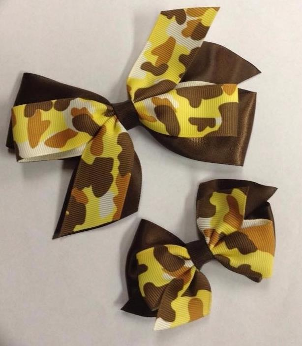 Yellow Camo  Clip on Hair/Shoe Bow, Great for Our Clip on Squeaky Shoes (Sold Individually)