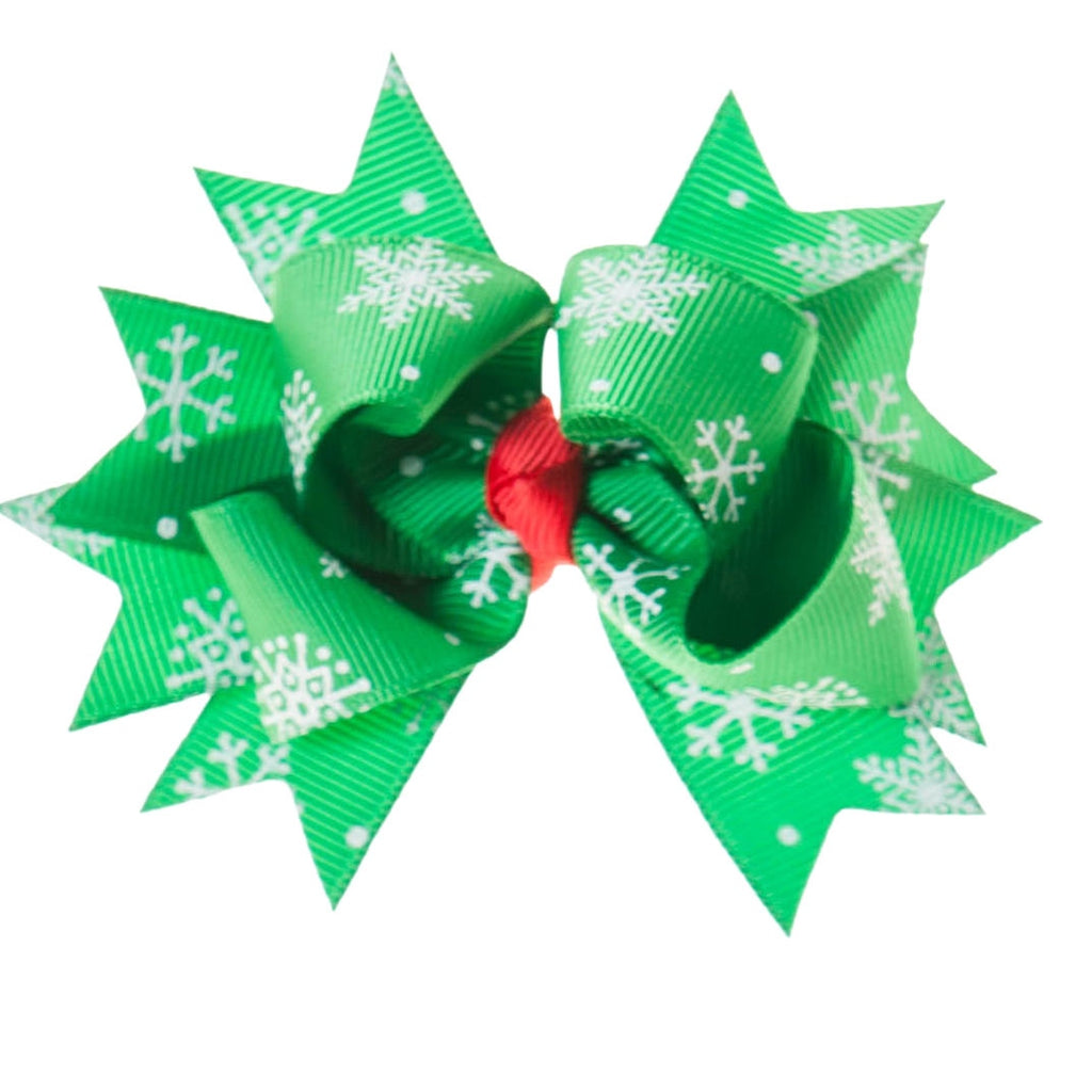 Green Christmas Print Clip on Hair/Shoe Bow (Sold Individually)