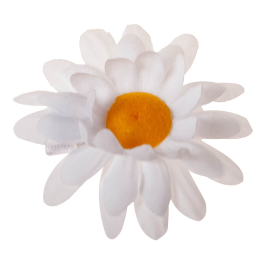 White Daisy Clip on Hair/Shoe Bow, Great for Our Clip on Squeaky Shoes (Sold Individually)