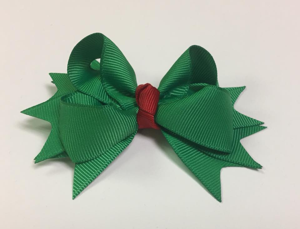 Solid Green With Red Clip on Hair/Shoe Bow, Great for Our Clip on Squeaky Shoes (Sold Individually)