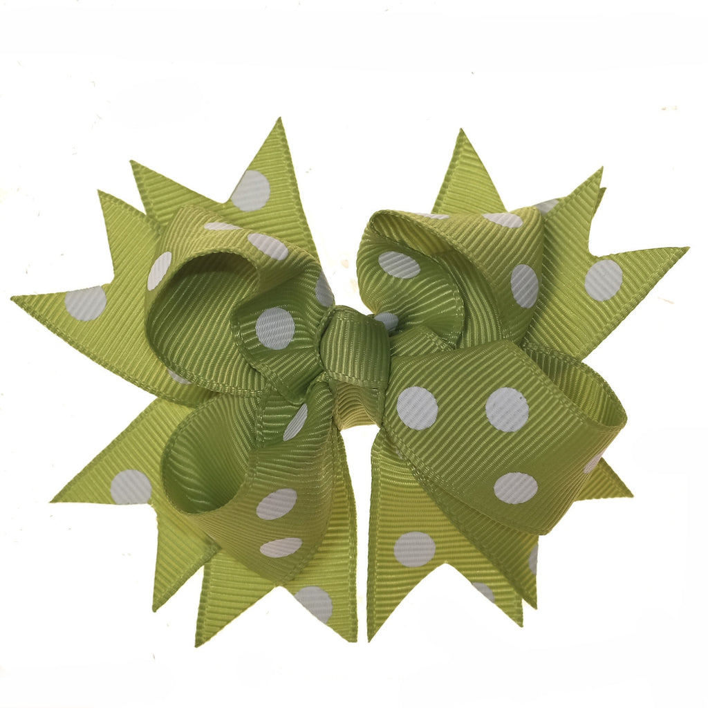 Green and White Polka Dot Clip on Hair/Shoe Bow (Sold Individually)