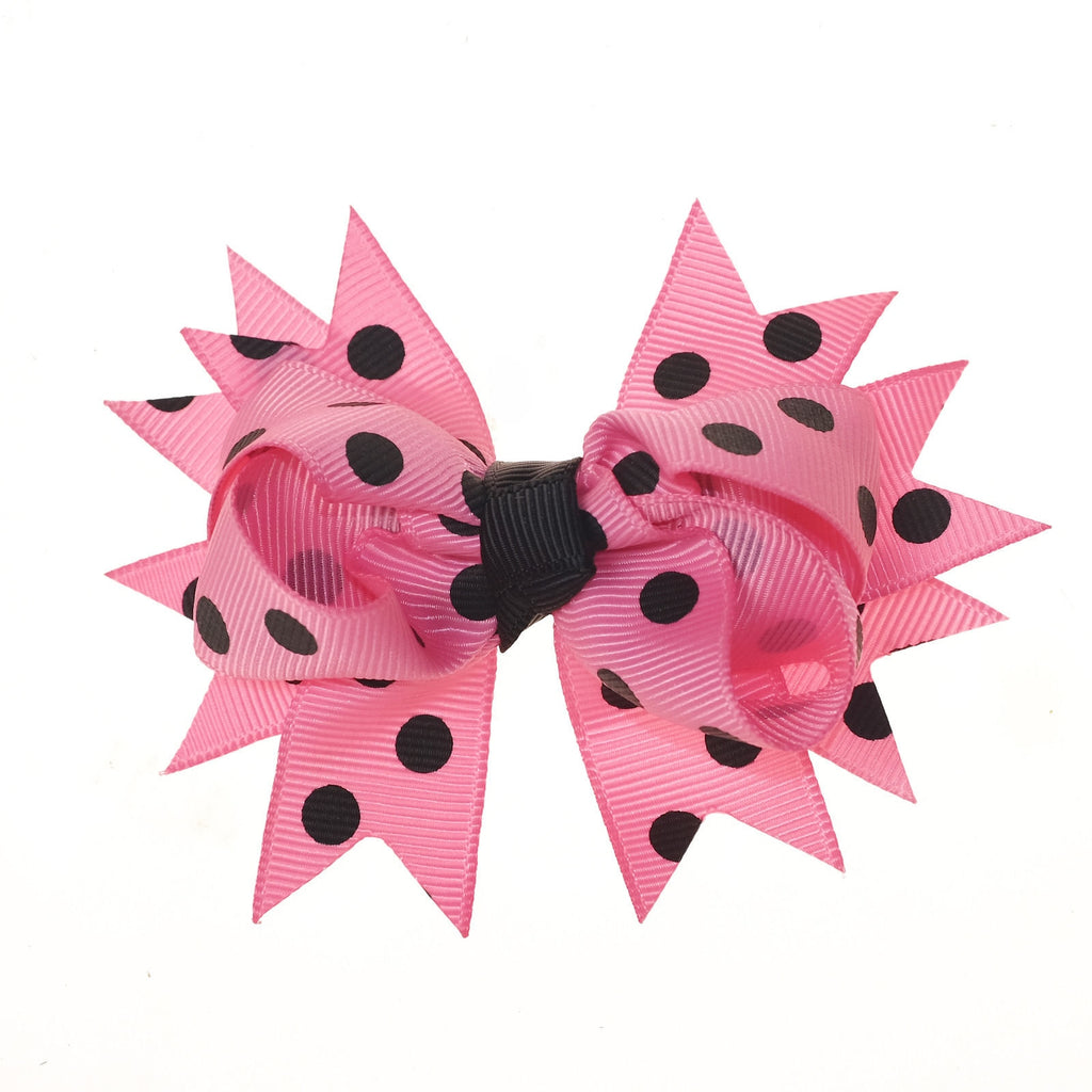 Hot Pink and Black Polka Dot Clip on Hair/Shoe Bow (Sold Individually)
