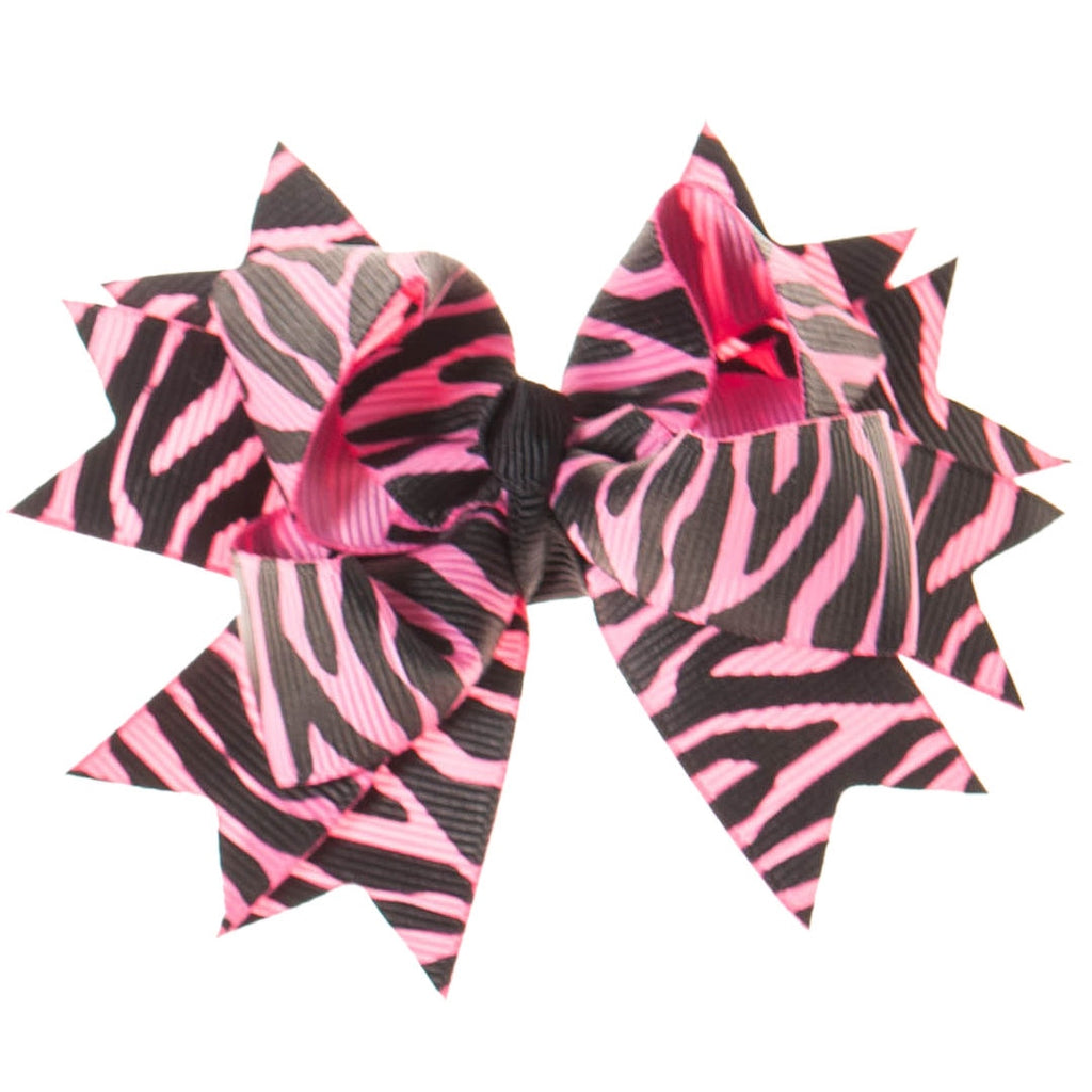 Hot Pink and Black Zebra Print Clip on Hair/Shoe Bow (Sold Individually)