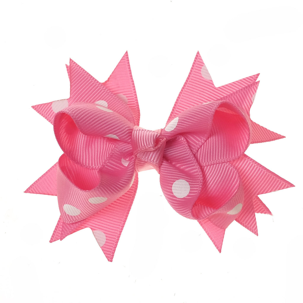 Hot Pink and White Polka Dot Clip on Hair/Shoe Bow (Sold Individually)