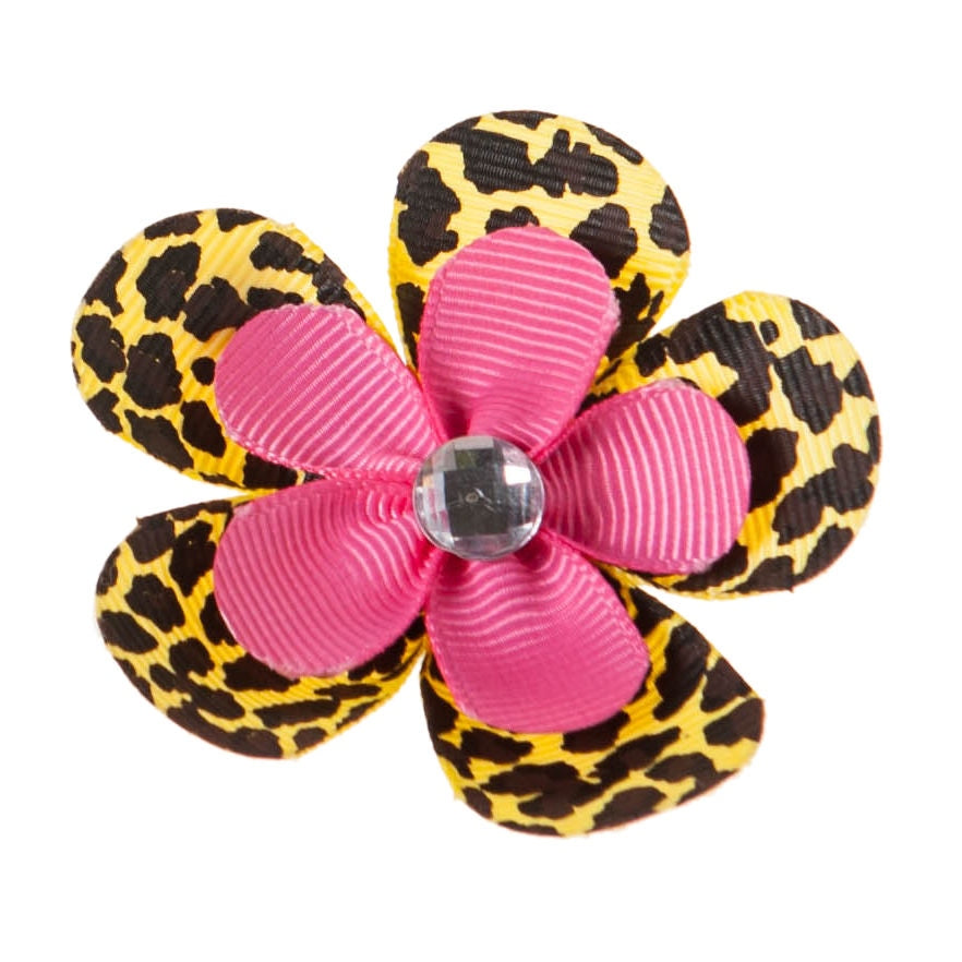 Pink Leopard Flower Clip on Hair/Shoe Bow, Great for Our Clip on Squeaky Shoes (Sold Individually)