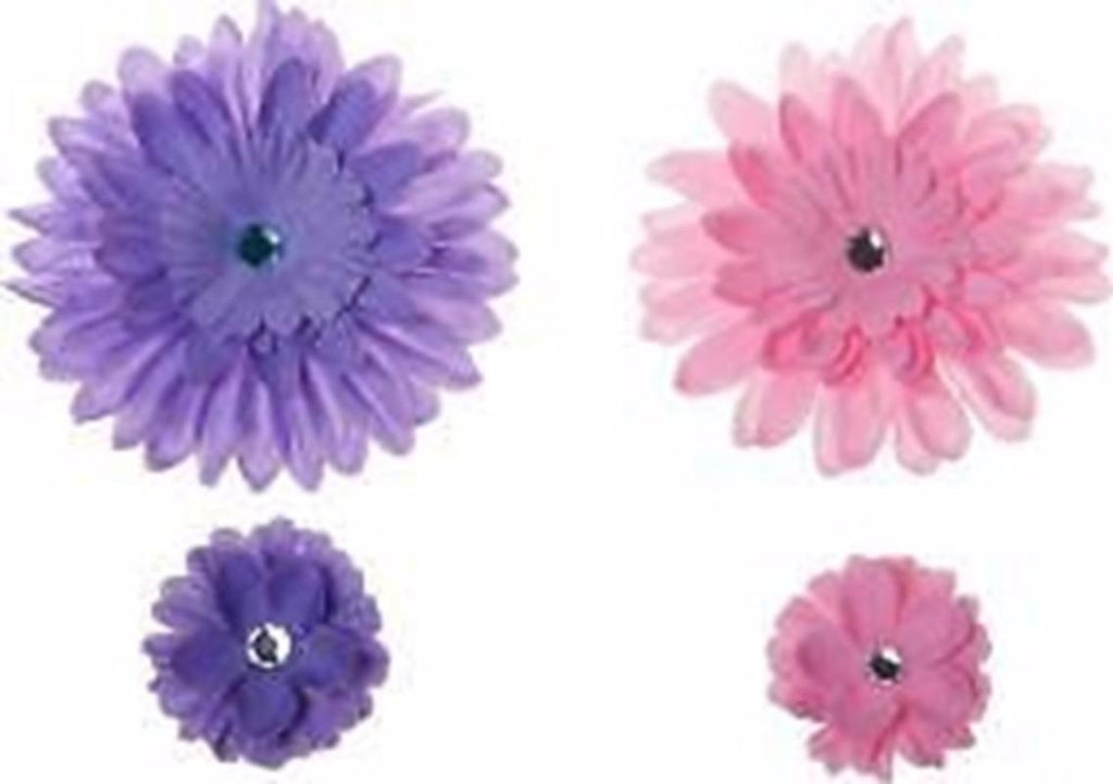 Purple and Pink Flowers  Clip on Hair/Shoe Bow (Sold Individually)