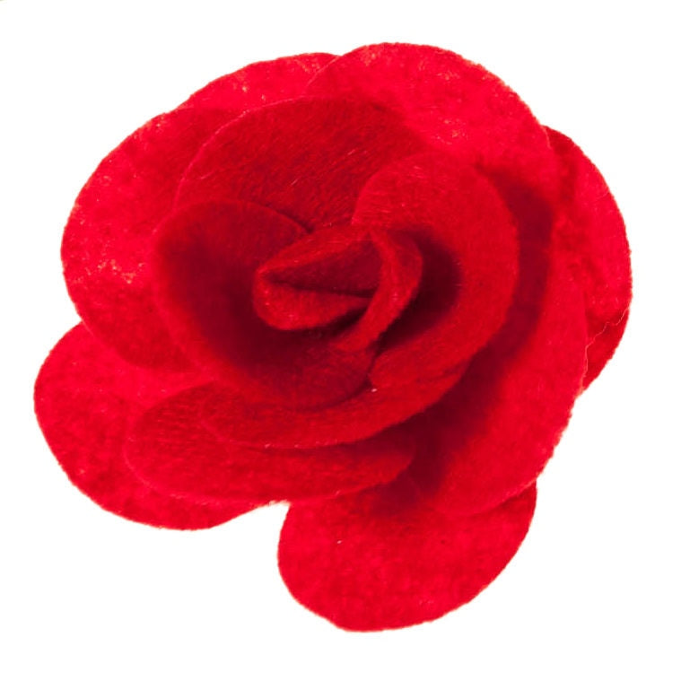 Red Rose Flower Clip on Hair/Shoe Bow, Great for Our Clip on Squeaky Shoes (Sold Individually)