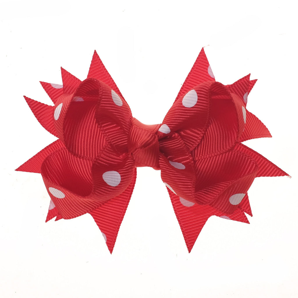 Red and White Polka Dot Clip on Hair/Shoe Bow (Sold Individually)