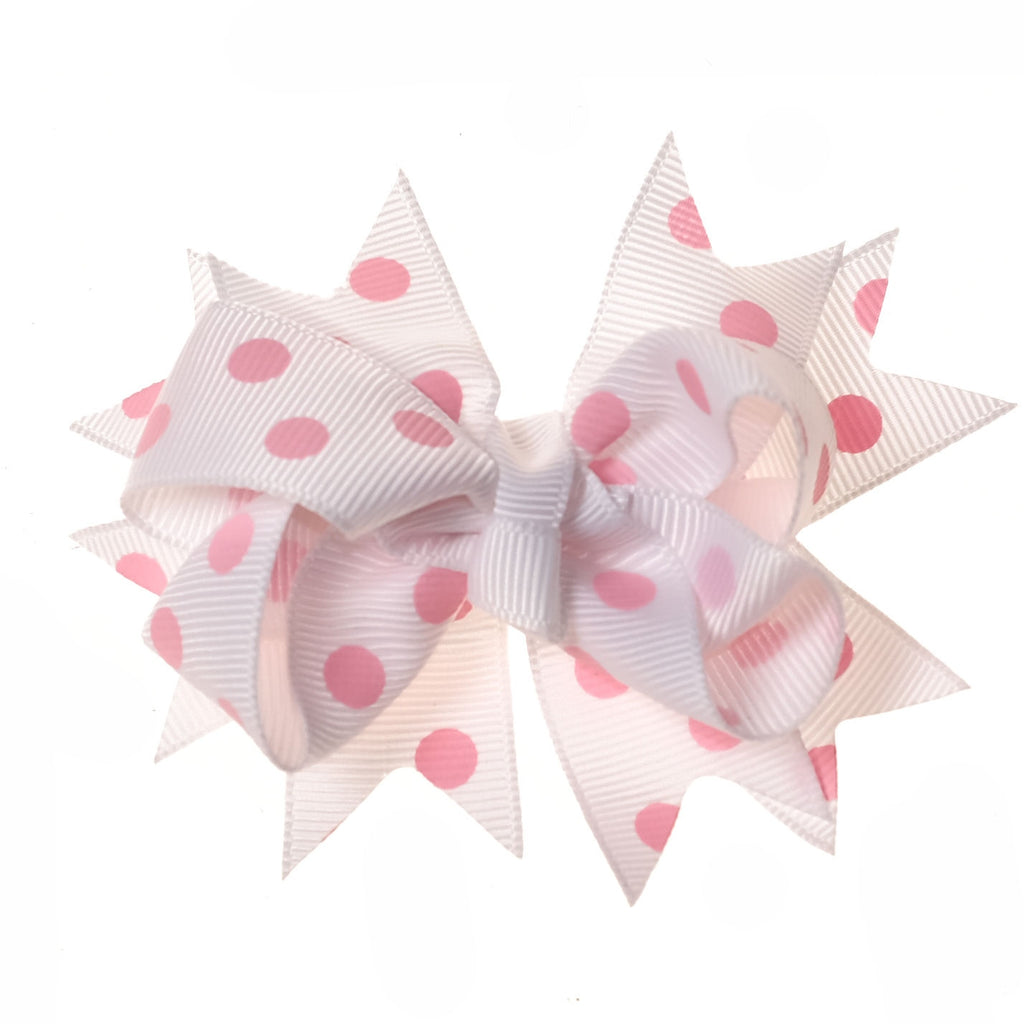 White and Pink Polka Dot Clip on Hair/Shoe Bow (Sold Individually)