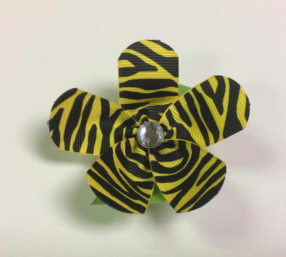 Yellow Striped Flower Clip on Hair/Shoe Bow, Great for Our Clip on Squeaky Shoes (Sold Individually)