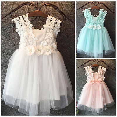 S-131 Baby Beautiful New Girl Princess Party Pearl Lace Tulle Flower Gown Fancy Dress Sundress