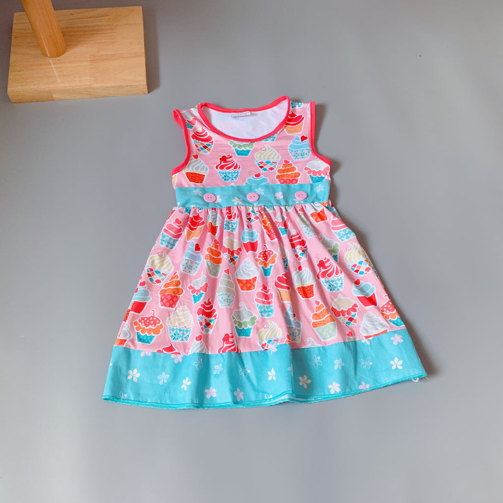 W-1749 Girl's Boutique Dress with Cup Cake Size 3T-8 READY TO SHIP FROM OHIO