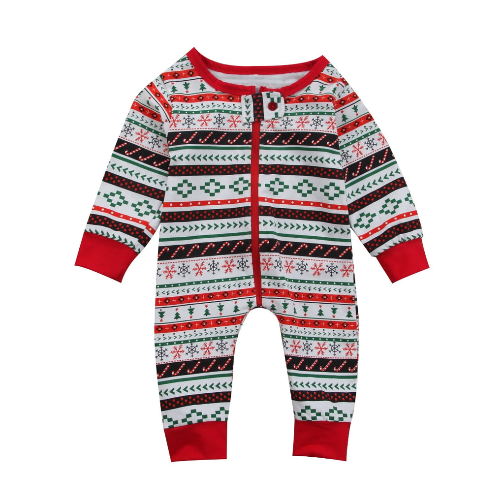 S-1991 Baby Boy Girl Christmas Long Sleeve Romper Size 3M-24M