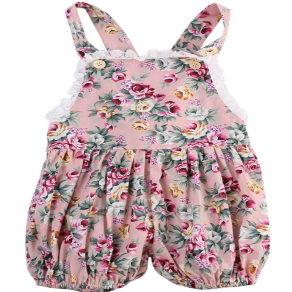 S-1609 Girl's Floral Romper Size 6M-24M