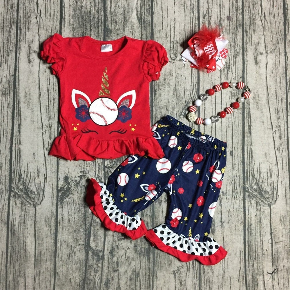 T-1596 Girl's Baseball Unicorn Boutique Outfit with Matching Accessories READY TO SHIP FROM OHIO