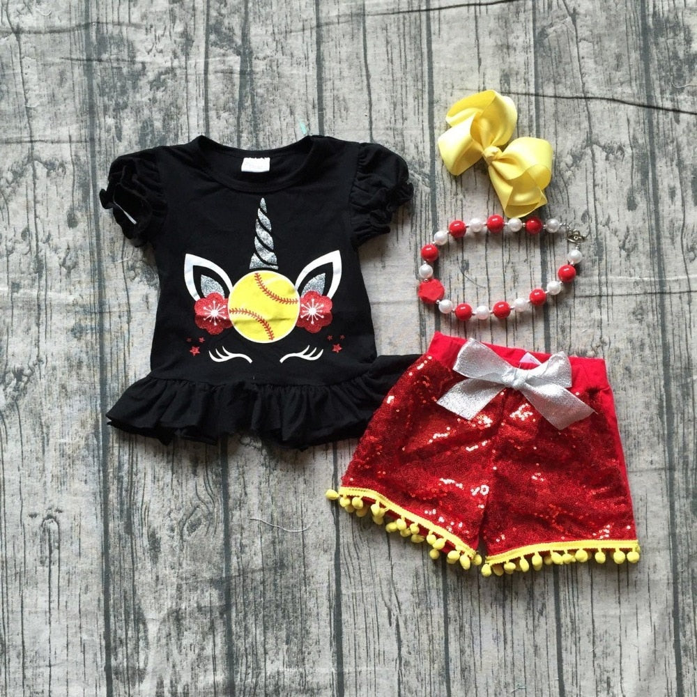 T-1586 Girl's Softball Unicorn Sequins 4 PCS Outfit Set Size 12M-8 READY TO SHIP FROM OHIO