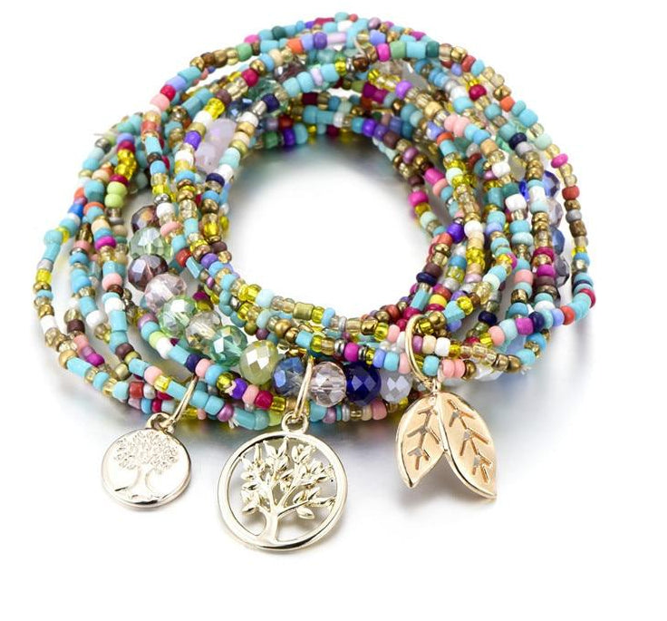 RB-1840 Bohemian Style Life of Tree Leave Charm Beads Bracelets