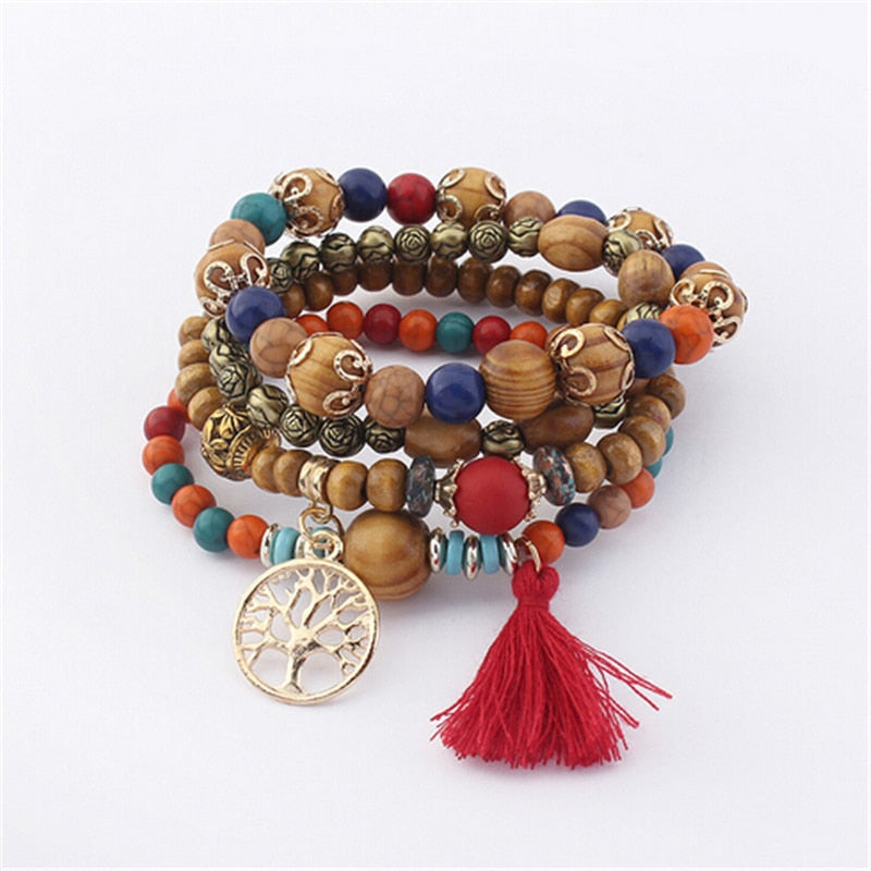 "ZO-1834 Boho Multilayer Wood Stone Bracelet ""Tree of Life"""