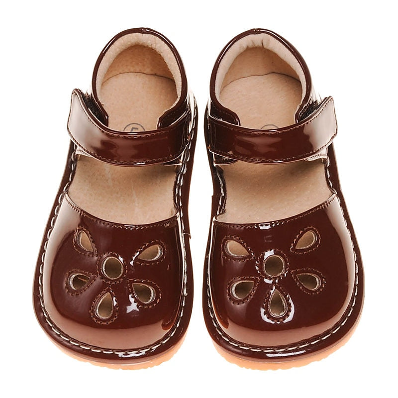 CLOSEOUT SALE! Leather Toddler Girl's Brown Paten Petal Squeaky Shoes Size 1