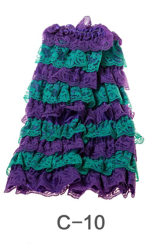 C-10 Toddler Girl's Purple and Turquoise Ruffle Lace Leg Warmers