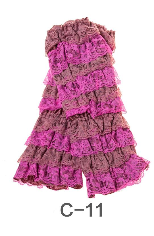 C-11 Toddler Girl's Dusty Rose and Pink Ruffle Lace Leg Warmers